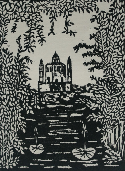 Spiritual relation, Lino cut on paper landscape by Nabeel Majeed (8 x 6 in)
