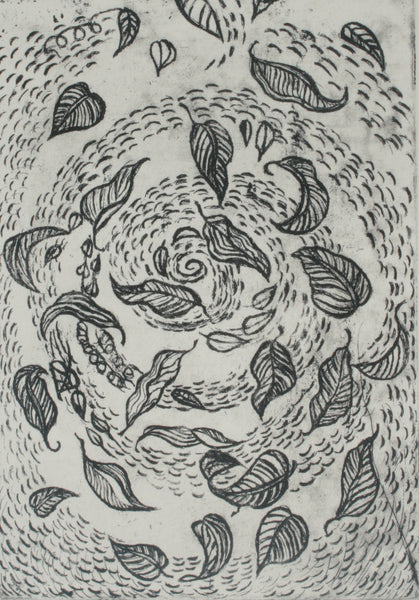 Dancing leaves, Etching on paper abstract print by Naheed Afridi (9 x 6 in)