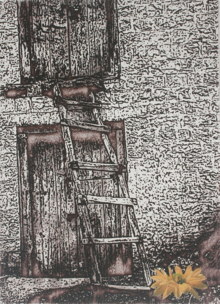 Brick by brick, Etching on paper abstract print by Zaira Ahmed (8 x 6 in)