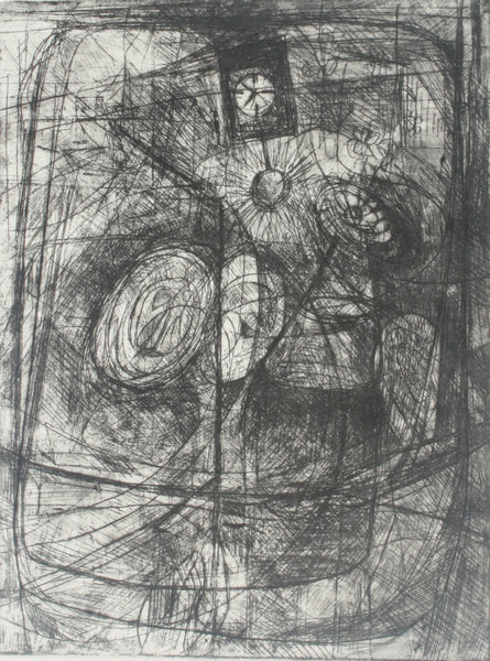 Untitled, Etching on paper abstract print by Ghalib Baqar (8 x 7 in)