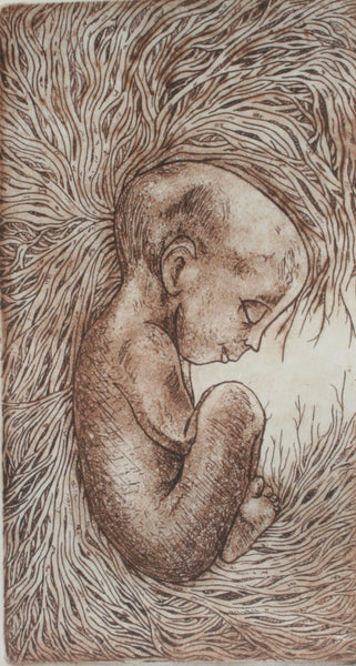 Untitled, Etching on paper figurative print by Allefiya Z. Abbas (7 x 4 in)