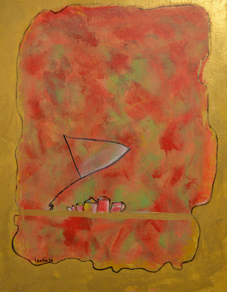 Its Feb, where should I celebrate Basant - 2, abstract painting by Irshad Salim (20 x 15 in)