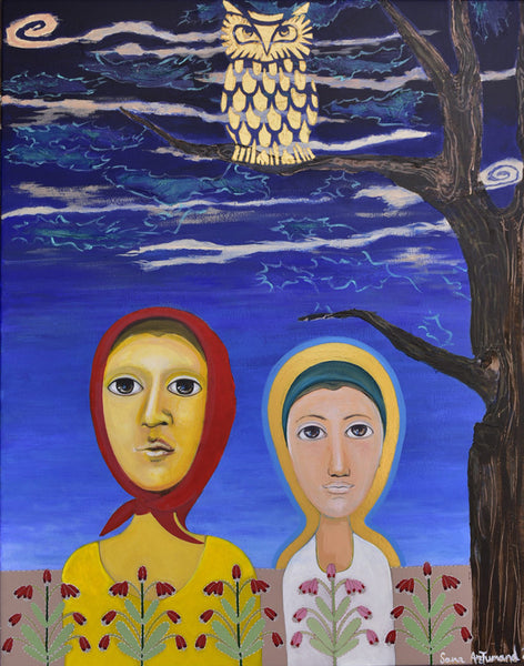 Partners in wonderment, Acrylic on board figurative by Sana Arjumand (39 x 31 in)