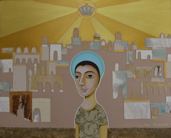 Wondering in ballad under the royal jordanian sun, Acrylic on board figurative by Sana Arjumand (39 x 31 in)