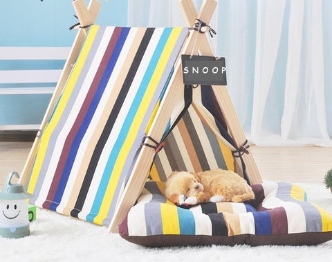 Vibrant Stripey Pet Tent