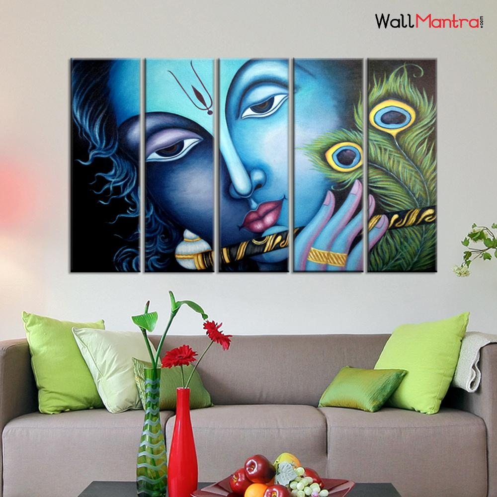 WallMantra Canvas Painting Krishna With Flute Wall Painting In Multiple Framed Canvas