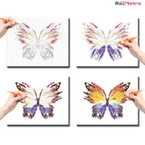 WallMantra DIY Painting Beautiful Butterfly Colourful DIY(Do-It-Yourself)/ Paint by numbers canvas painting kit