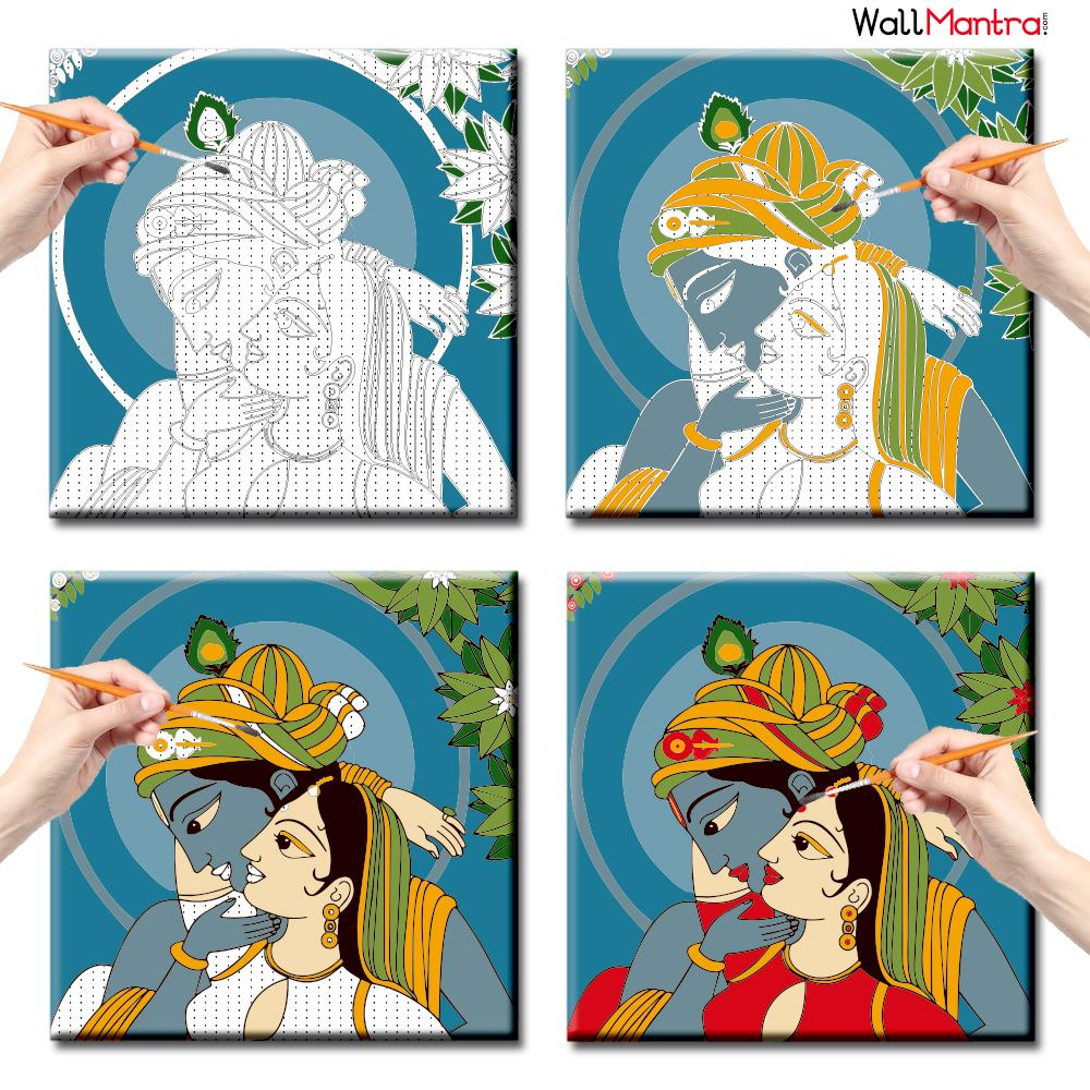 WallMantra DIY Painting Radha Krishna Colourful DIY(Do-It-Yourself)/ Paint by numbers canvas painting kit