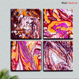 WallMantra - Ebru Art Canvas Painting Frame Set of 4 Size: 18 inch (W) X 18 inch (H) each panel