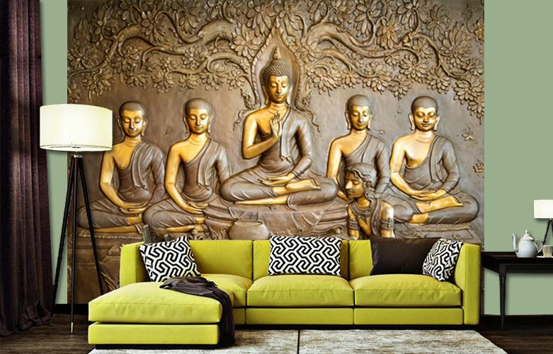 WallMantra - Buddha & Disciples Scenery Wallpaper / High Quality Woven WallPaper /size 12 ft x 10 ft