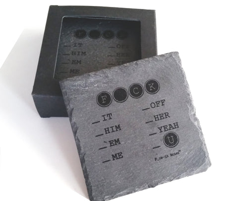 """Absorb This"" Natural Slate Coasters"