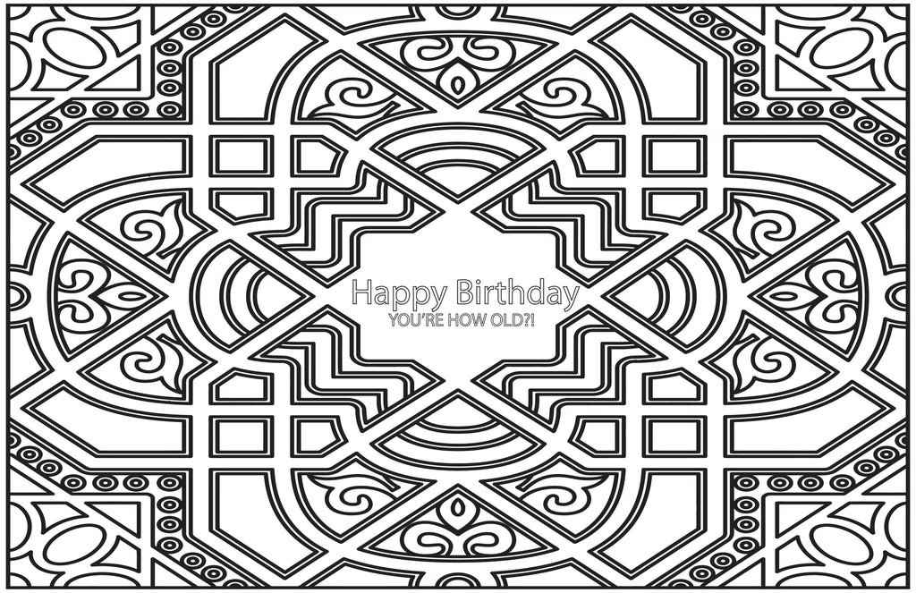 You\'re How Old?! Happy Birthday Color-in Placemat Pad – F_ck-it Notes™