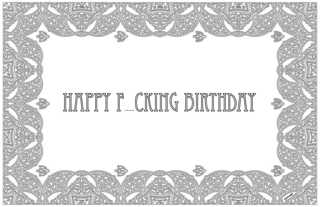 Happy F_cking Birthday Color-in Placemat Pad