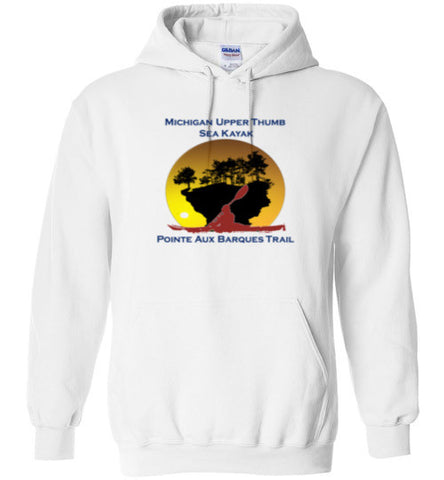Kayak Turnip Rock - Pointe Aux Barques Trail - White Hoodie Sweatshirt - Thumbwind  Mercantile