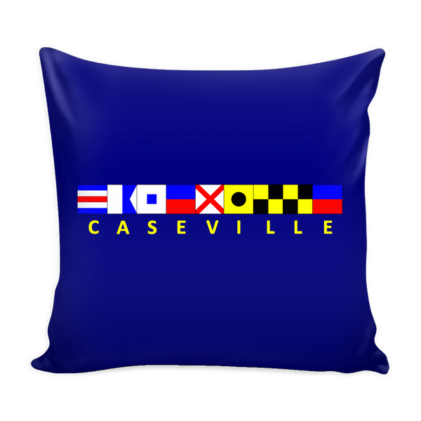 Caseville Michigan Nautical Pillow Cover - Navy