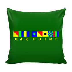 Oak Point Michigan Green Nautical Pillow Cover
