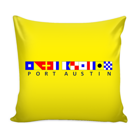 Port Austin Michigan Nautical Pillow Cover - Yellow