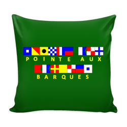 Point Aux Barques Michigan Nautical Pillow Cover - Green