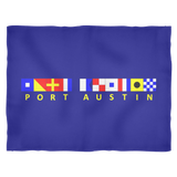 Port Austin Michigan Nautical Fleece Blanket