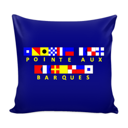 Point Aux Barques Michigan Pillow Cover - Navy