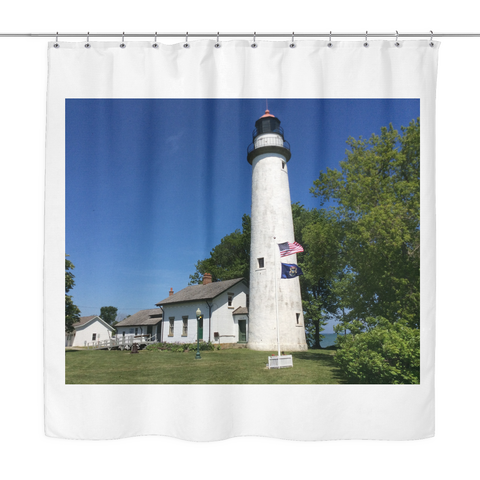 Pointe Aux Barques Lighthouse Shower Curtain | Thumbwind - Thumbwind  Mercantile