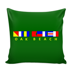 Oak Beach Michigan Nautical Green Pillow Cover