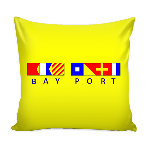 Bay Port Michigan Pillow Cover - Yellow