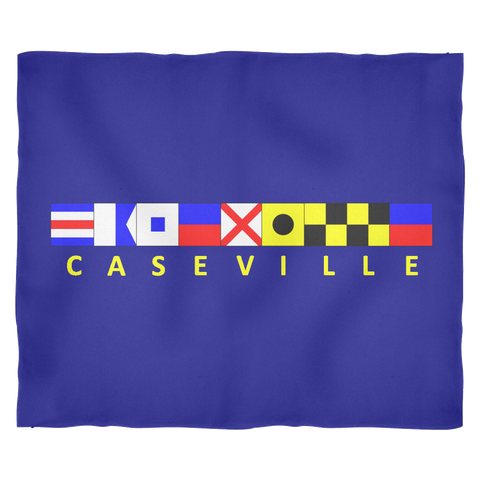 Caseville Michigan Fleece Blanket - Medium Navy