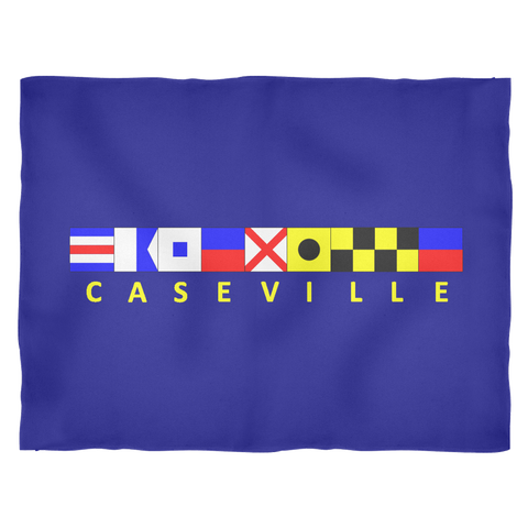 Caseville Michigan Fleece Blanket - Large Navy