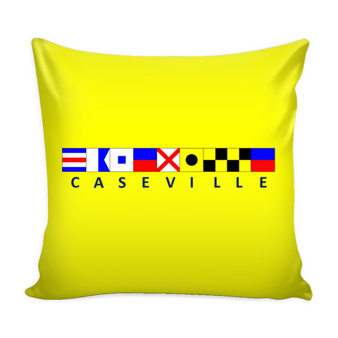 Caseville Michigan Nautical Pillow Cover - Yellow