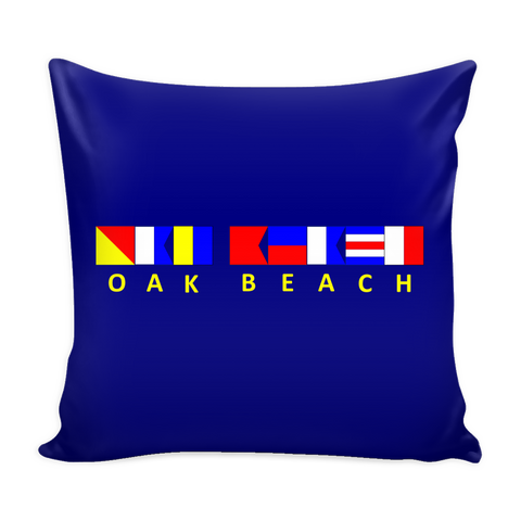 Oak Beach Michigan Nautical Pillow Cover - Navy