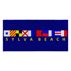 Sylva Beach Nautical Beach Towel - Navy