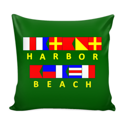Harbor Beach Michigan Green Nautical Pillow Cover