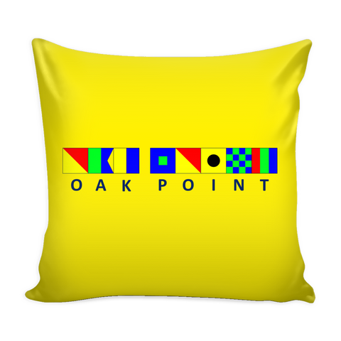 Oak Point Michigan Nautical Pillow Cover - Yellow