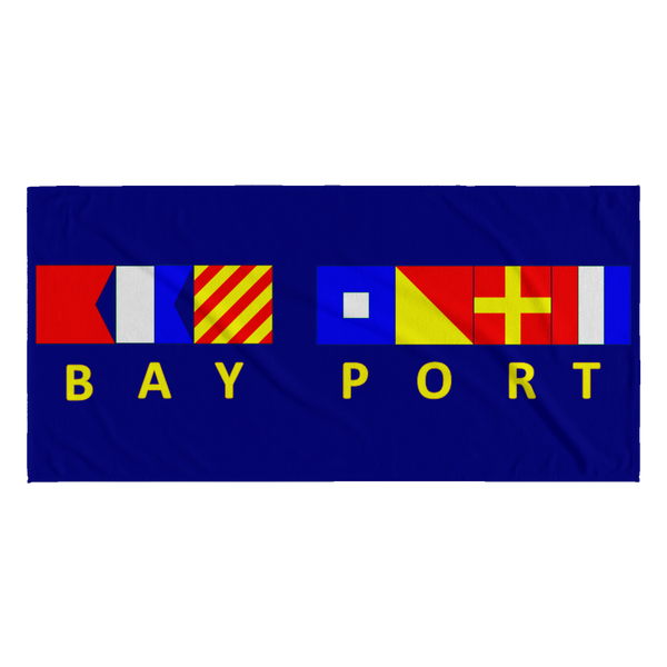Bay Port Michigan Beach Towel - Navy