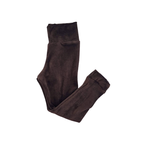 Chocolate Ribbed Kids Leggings