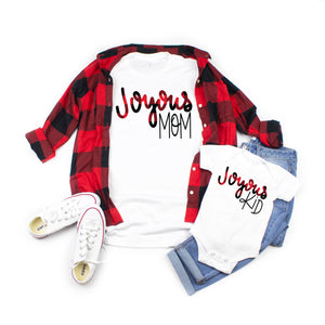Holiday Joyous mom tee in buffalo plaid. Shop mattieandmase.com