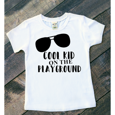 Shirt with sunglasses for back to school.