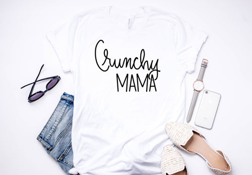 Crunchy Mama Tee white bella canvas. Shop mattieandmase.com