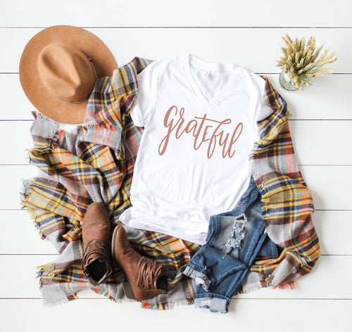 Grateful Unisex V-Neck Tee - Mattie and Mase
