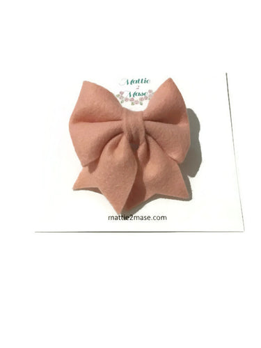 Valentine's Day Blush Felt Bow - Mattie and Mase