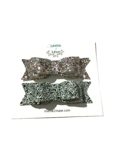 Layered Confetti Gliter Bow- 2 Pack - Mattie and Mase