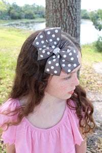 Large Gray Polka Dot Bow - Mattie and Mase