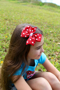 Large Red Polka Dot Bow - Mattie and Mase