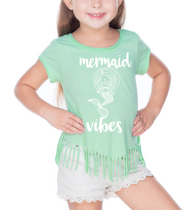 Toddler Mermaid Vibes Fringe Tee - Mattie and Mase