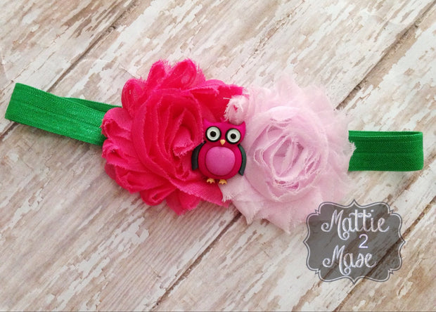 Headband for Babies, Owl Headband, Easter Headband, Photography Prop, Pink Headband, Pink Owl, Pink and Green Headband - Mattie and Mase