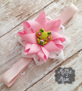 Frog Headband for Little Girls, Pink and White Flower Hair Accessory, Ribbon Flower - Mattie and Mase