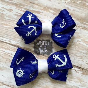 Nautical Bows for Toddlers, Basic Boutique Bows for Girls, Cute Nautical Bows, Sailor Hair Accessories, Back to School Bows - Mattie and Mase