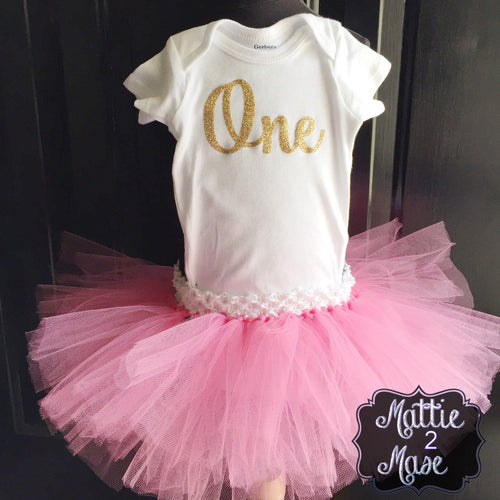 Gold First Birthday One Bodysuit and Pink Tutu - Mattie and Mase
