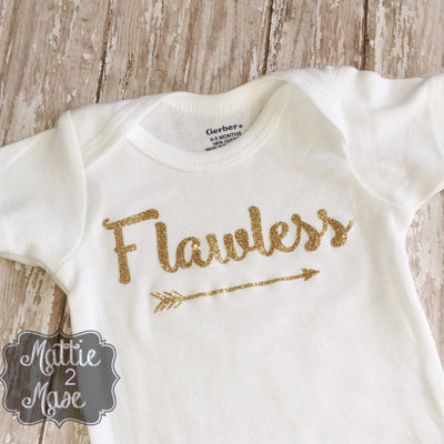Gold Flawless Bodysuit for Newborns, I Woke Up Like This Bodysuit, Baby Shower Gift for Girls, Shirts with Sayings for Babies - Mattie and Mase
